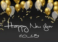 Happy New Year Gold Balloon Black Glitter Frame Letter Photo Vinyl Cloth Computer Print Party Background