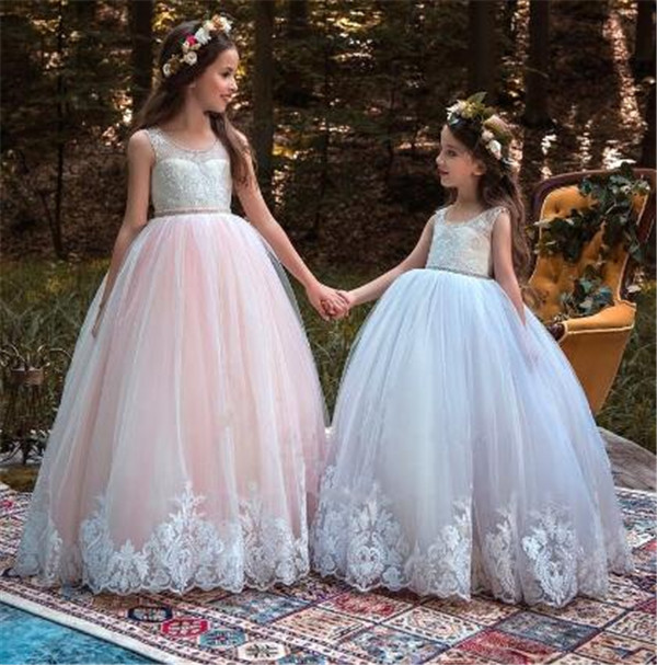 Flower Girls Dresses for Wedding Kids Pageant Dress First Communion Gown for Little Girls Party Prom Dress Size 2-16Y fancy pink little girls dress long flower girl dress kids ball gown with sash first communion dresses for girls