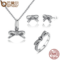 BAMOER Authentic 925 Sterling Silver Sparkling Bow Knot Stackable Ring Jewelry Sets Sterling Silver Jewelry ZHS022