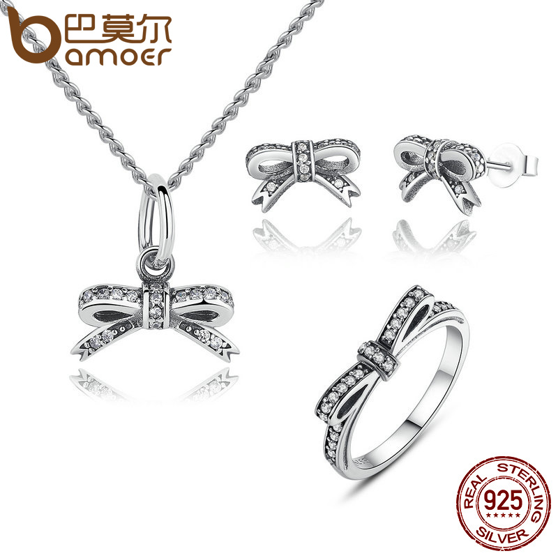 BAMOER 925 Sterling Silver Sparkling Bow Knot Stackable Ring Bridal Jewelry Sets Sterling Silver Jewelry Sets & More ZHS022 bamoer 925 sterling silver