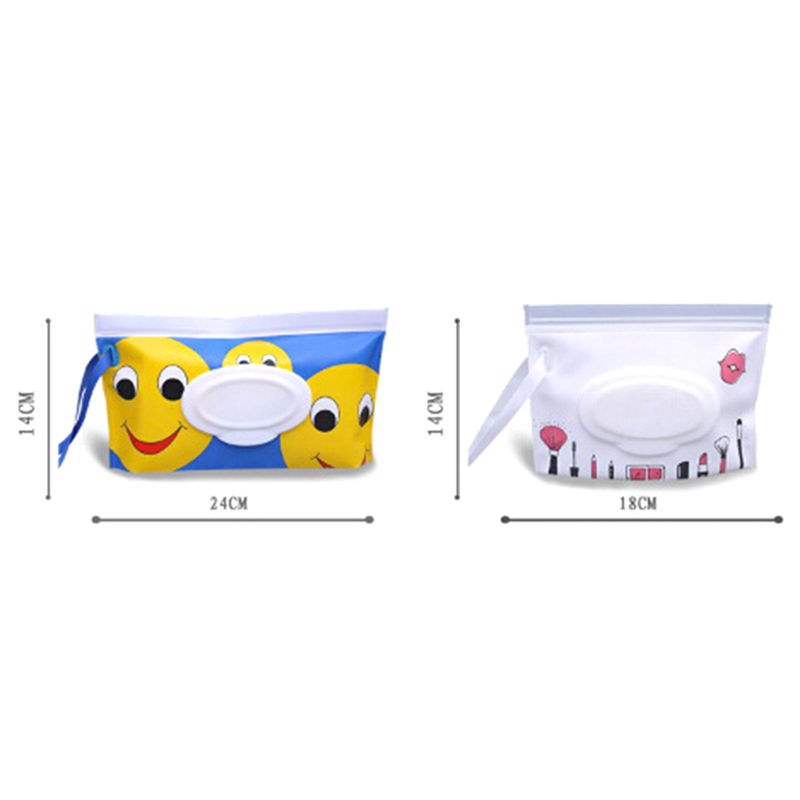 Eco-friendly Clutch And Clean Wipes Carrying Case Wet Wipes Bag Clamshell Cosmetic Pouch Easy-carry Snap-strap Wipes Container Mother & Kids