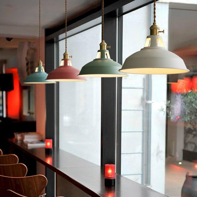 купить creative light Macarons colors Pendant light Nordic minimalist modern Pendant lamp restaurant cafe bar Lighting iron онлайн