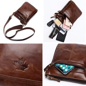 Image 5 - Genuine Leather Bag Handbag Shoulder Mens Bag Small Messenger Leather Crossbody Men Bags 2019 Male Flap Zipper Handbag ZZNICK