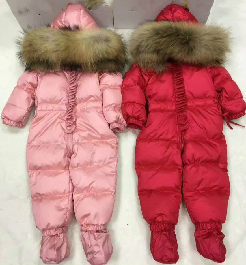 Top quality winter brand jacket fashion  6-24M infant coat 90% duck down snow wear baby boy snowsuit with nature fur hood