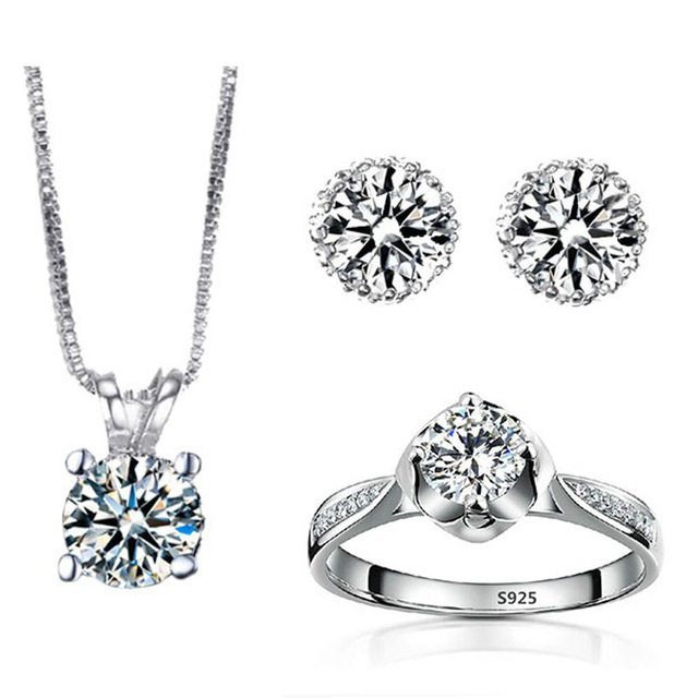 Brand New Wedding Jewelry Sets Ring Earring Necklace Set For Women Vintage Silver Plated Cz Stone