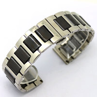 1pcs High Quality Watch Band Black Silver Ceramic Watchband Diamond Watch General 18mm Size Available