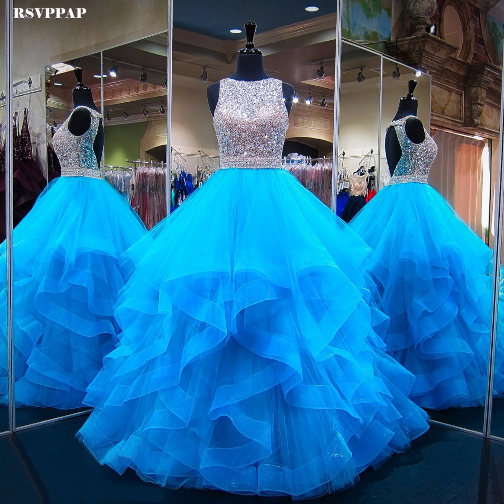 Long Sparkly   Prom     Dress   2019 Puffy Ball Gown Heavy Beaded Crystals Floor Length Backless African Blue   Prom     Dresses   Party