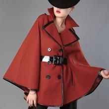Зимнее женское модное шерстяное пальто с отложным воротником, двубортное пончо с рукавами летучая мышь из смешанной шерсти
