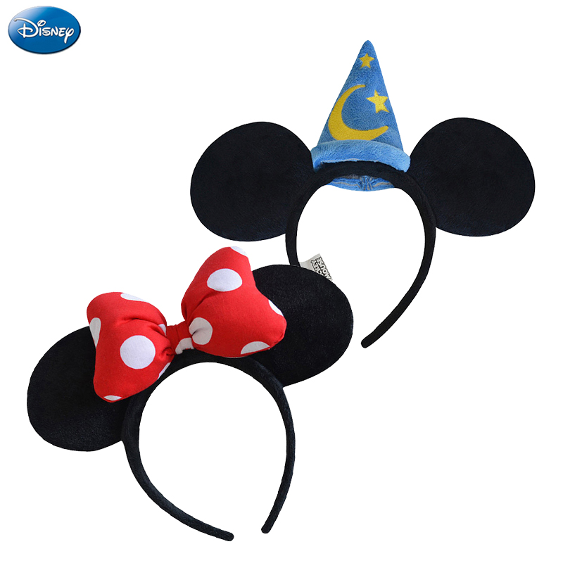 Original Disney Mickey Minnie Mouse Headdress Headwear Hair Hand Accessories Kawaii Plush Toys Birthday Gift For Children Girl цена
