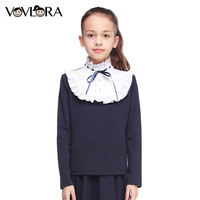 Kız T gömlek Tops Uzun Kollu Fırfır Balıkçı Yaka Pamuk Çocuklar Okul T gömlek Moda Çocuk Giyim Boyutu 7 8 9 10 11 12 Yıl