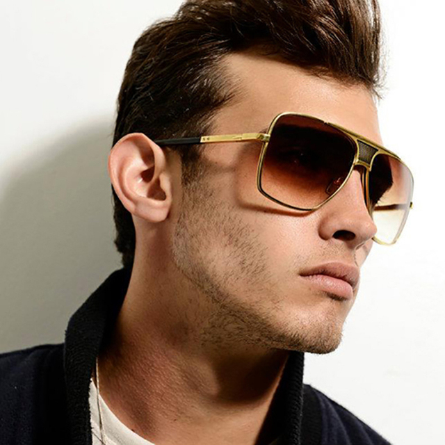 3fc0d735cf Vazrobe Oversized Gold Mens Sunglasses Brand Designer Flat Top Large Face  Sun Glasses for Man Gradient
