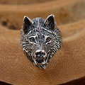 GZ 925 Sterling Silver Ring Wolf Punk anillos Male S925 Thai Silver Rings for men Jewelry