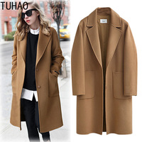 TUHAO Wool Blends Coats Ladies Woolen Blazer Suit Jacket 2018 Autumn Winter Long Coat Womens Outwear Plus Size 5XL 4XL Coat MKFS