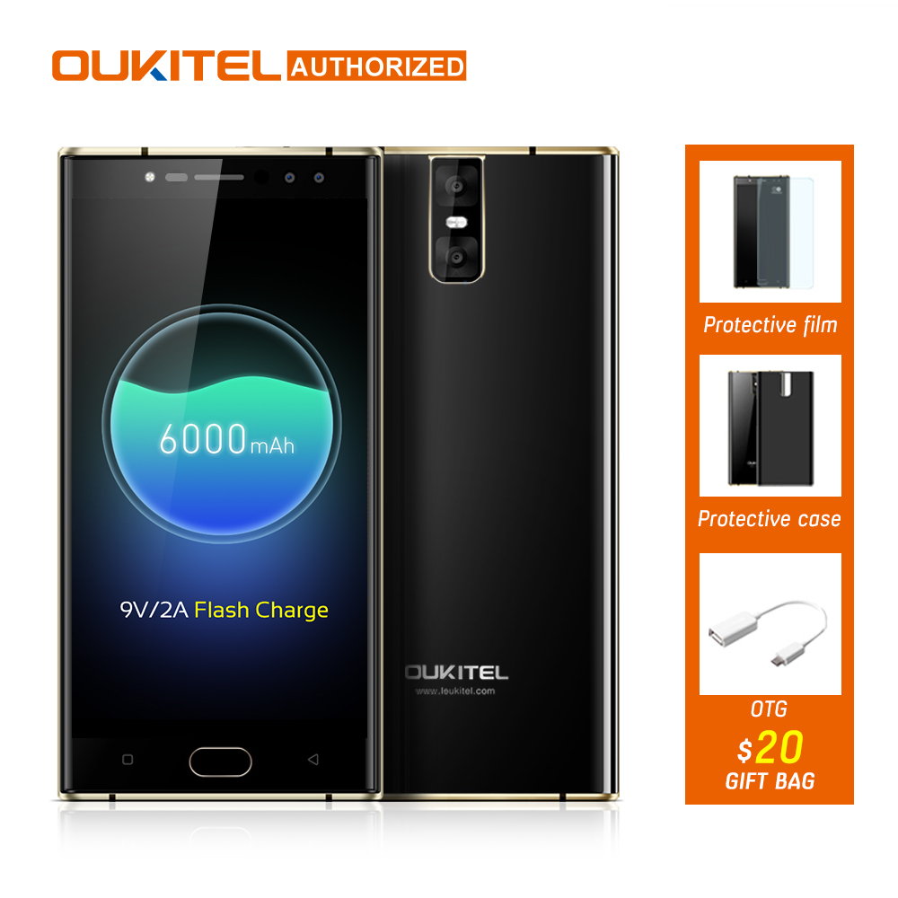 OUKITEL K3 4 Cameras 4G Smartphone <font><b>6000mAh</b></font> MTK6750T Octa-Core Android 7.0 4GB+64GB 16.0MP+2.0MP 5.5inch Mobile <font><b>Cellphone</b></font>