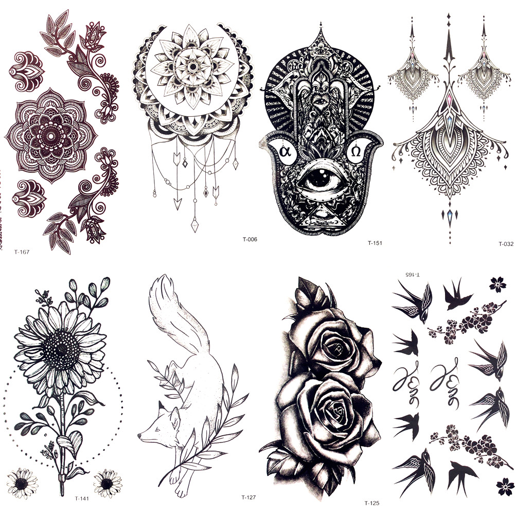 Black Lace Hamsa Mandala Flower Henna Fake Tattoo Women Faske Jewelry Body Hands Art Temporary Tattoo Stickers Girls Arm Tatto