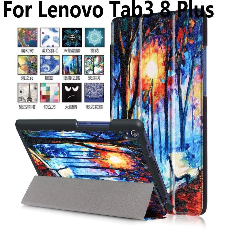 For Lenovo Tab3 8 Plus Case Tablet Accessories Case For Lenovo Tab 3 8 Plus Painted Smart Cover For Lenovo TB-8703F TB-8703X чехол для lenovo tab 3 plus tb 8703x 8703f g case executive черный