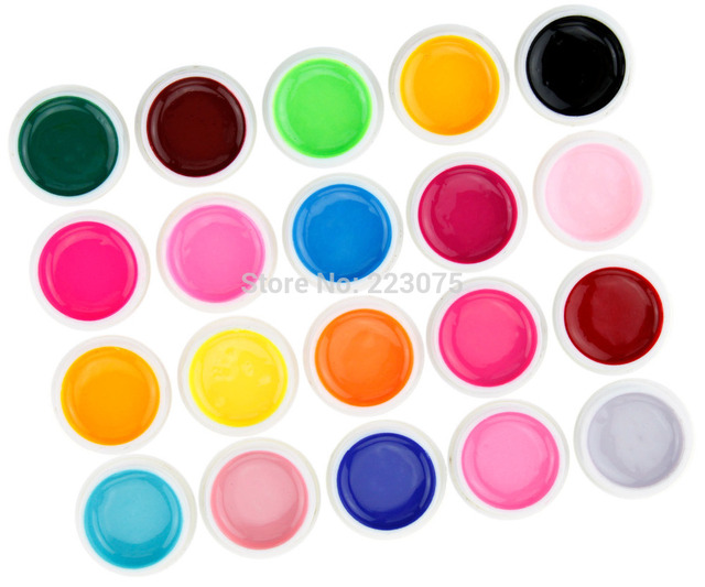 Hot NEW 20 Different Pure / Solid Colors UV Nail Art UV Builder Gel Set