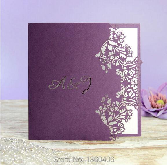 Rustic Muslim Purple Flower Lace Laser Cut Wedding Invitation Cards