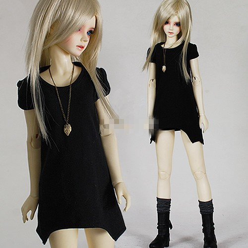 Unisex Irregular Long T-Shirt for BJD Doll 1/6 YOSD,1/4 MSD,1/3 SD10,SD13,SD16,SD17,Uncle LUTS.DOD.AS.DZ.SD Doll Clothes CWB7 fashion bjd doll retro black linen pants for bjd 1 4 1 3 sd17 uncle ssdf popo68 doll clothes cmb67