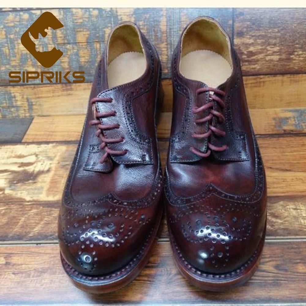 Ayakk.'ten Resmi Ayakkabılar'de Sipriks Lüks Bordo İtalya Buzağı Deri Goodyear Welted Ayakkabı Erkek Klasik Vintage Brogue Ayakkabı Wingtip Elbise Gents Takım 44 45'da  Grup 2