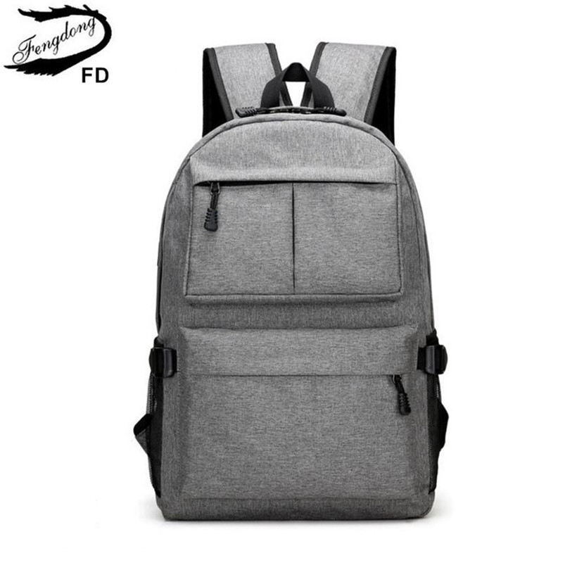 цена FengDong school bags for boys men waterproof USB backpack student laptop bag 15.6 kids school backpack bookbag dropshipping 2018