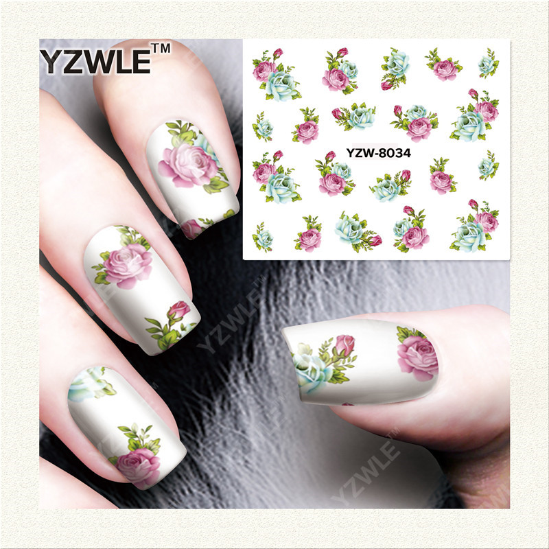 YWK  1 Sheet DIY Designer Water Transfer Nails Art Sticker / Nail Water Decals / Nail Stickers Accessories (YZW-8034) yzwle 1 sheet diy designer water transfer nails art sticker nail water decals nail stickers accessories yzw 8565