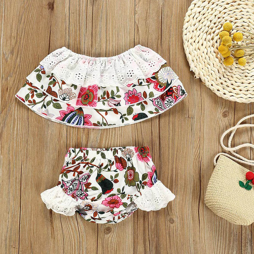 Kids Outfits For Girls Baby Summer Off Shoulder Floral Print Tops Lace Ruffles Shorts Outfits Set vetement enfant garcon(China)