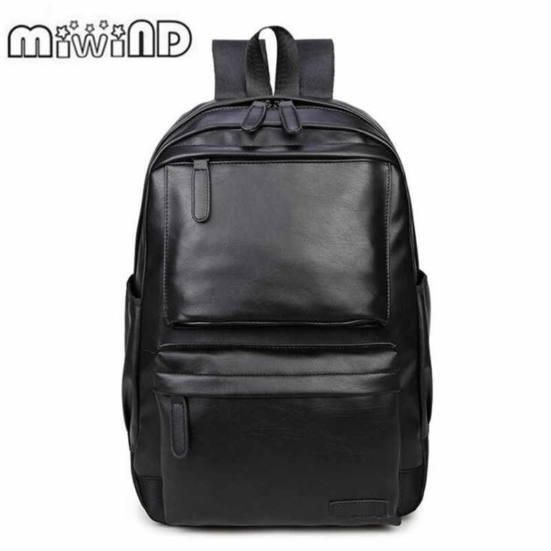 f5b450254b6 2018 Men Leather Backpack High Quality Youth Travel Rucksack School Book Bag  Male Laptop Business bagpack