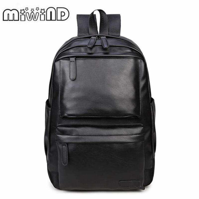 2018 Men Leather Backpack High Quality Youth Travel Rucksack School Book Bag Male Laptop Business bagpack mochila Shoulder Bag