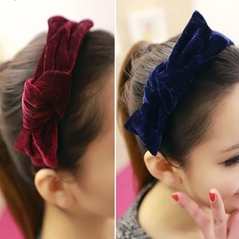 купить Blue Coffee Pink Green Flannel Big Bow Knot Hairbands Headwear for Women Head Bands дешево