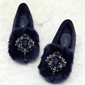 New Arriving Women Winter Warm Shoes Slip On Velvet Flats Rhinestone Suede Genuine Leather Short Plush Fur Plus Size:35-40
