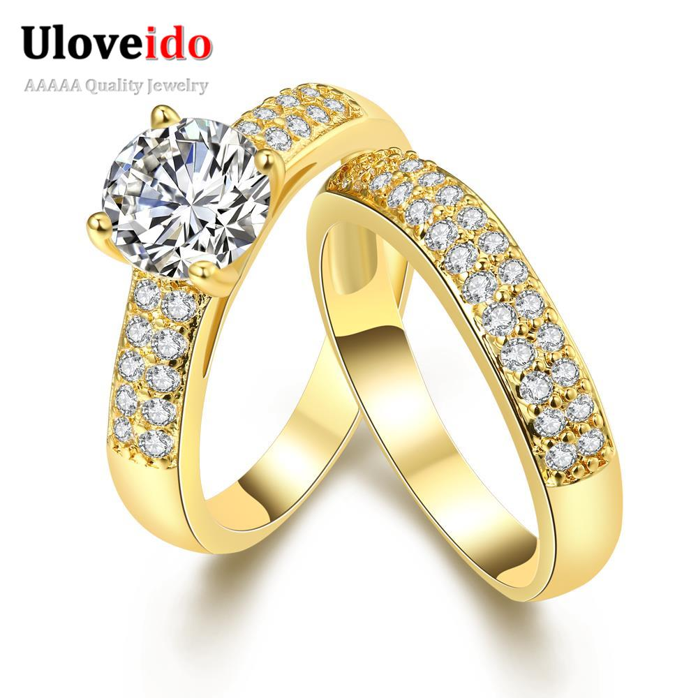 24k Gold Plated Yellow Double Rings for Women Girls Party Gift ...