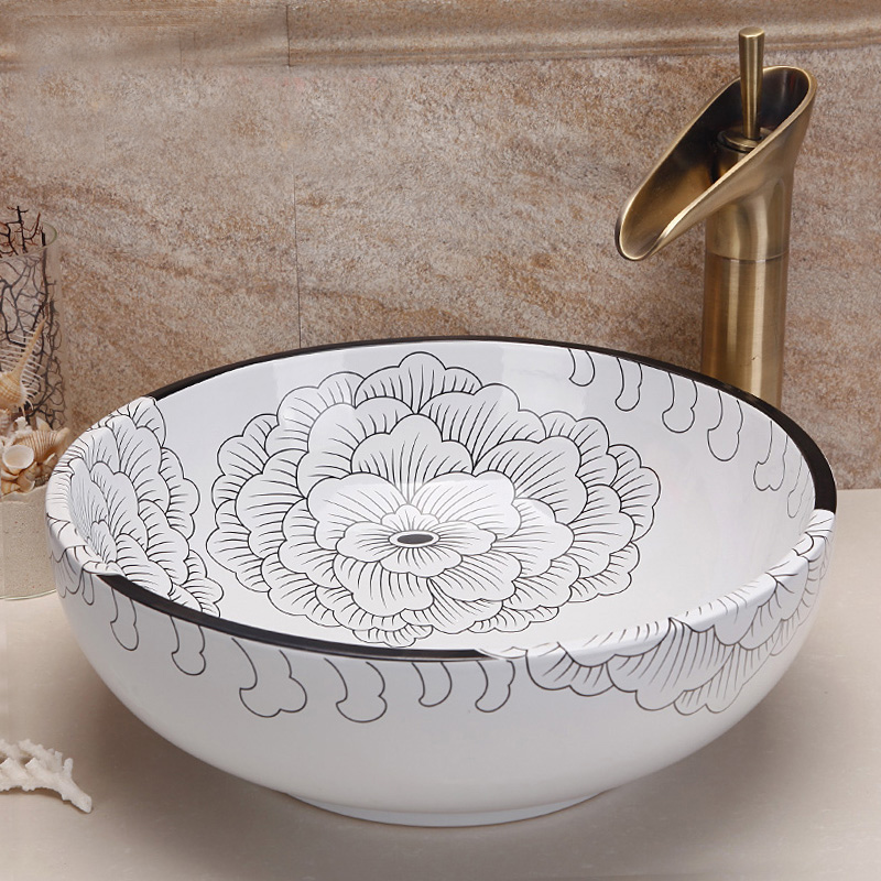 цена Jingdezhen ceramic art countertop wash basin lavabo bowl for bathroom