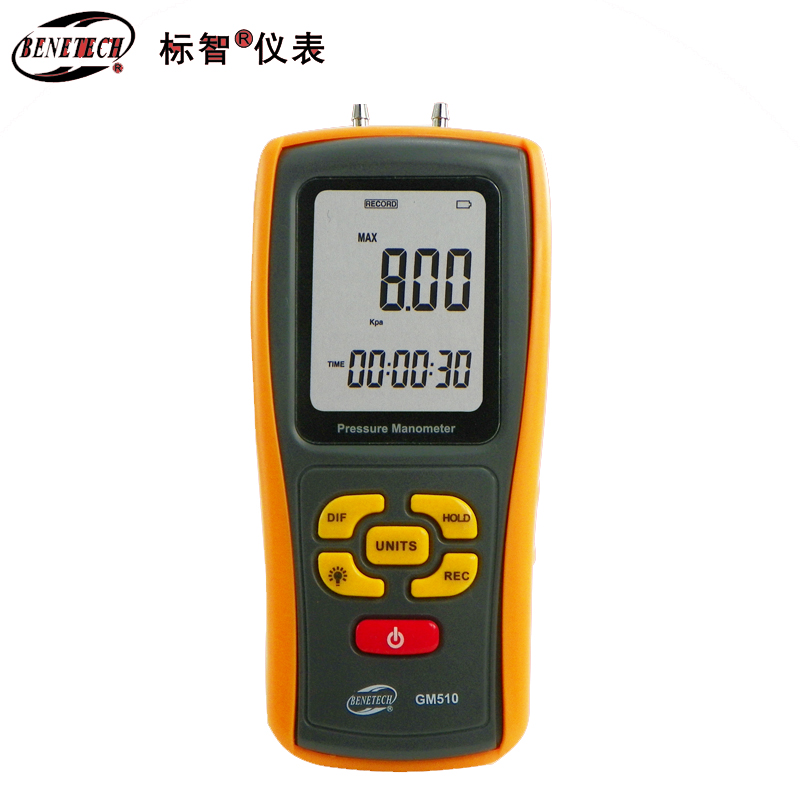 Handheld Digital Pressure Gauge Pressure Differential Tester USB Manometer Measuring range: +/-10kPa lcd pressure gauge differential pressure meter digital manometer measuring range 0 100hpa manometro temperature compensation