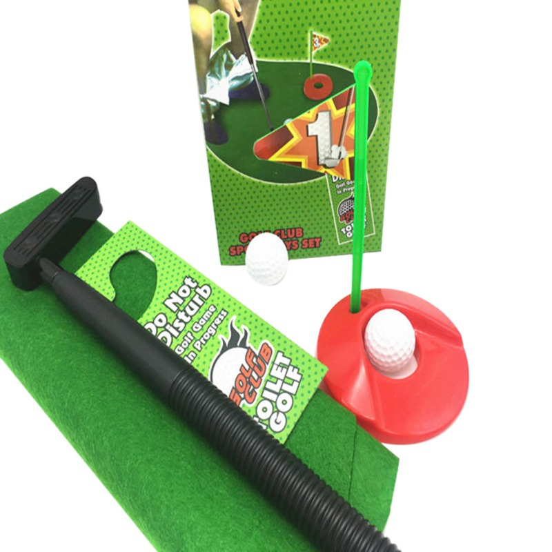 Funny Golf Game Mini Golf Set Toilet Golf Putting Green Novelty Kids Toys