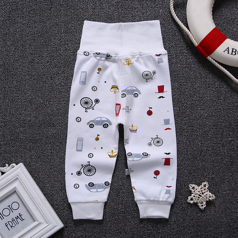 Children Cartoon High Belly Pants Boy Gril Leggings Cotton Baby High Waist Elastic Harem Trousers Inafnt Abdomen  Clothes(China)