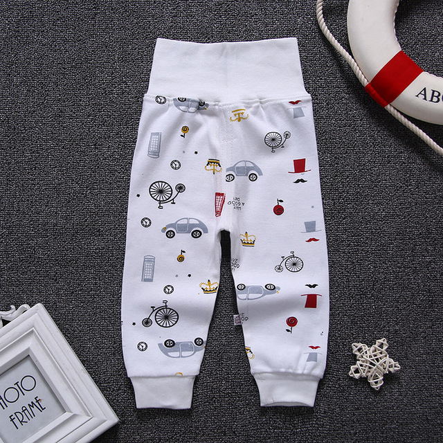 Children Cartoon High Belly Pants Boy Gril Leggings Cotton Baby High Waist Elastic Harem Trousers Inafnt Abdomen Protect Clothes