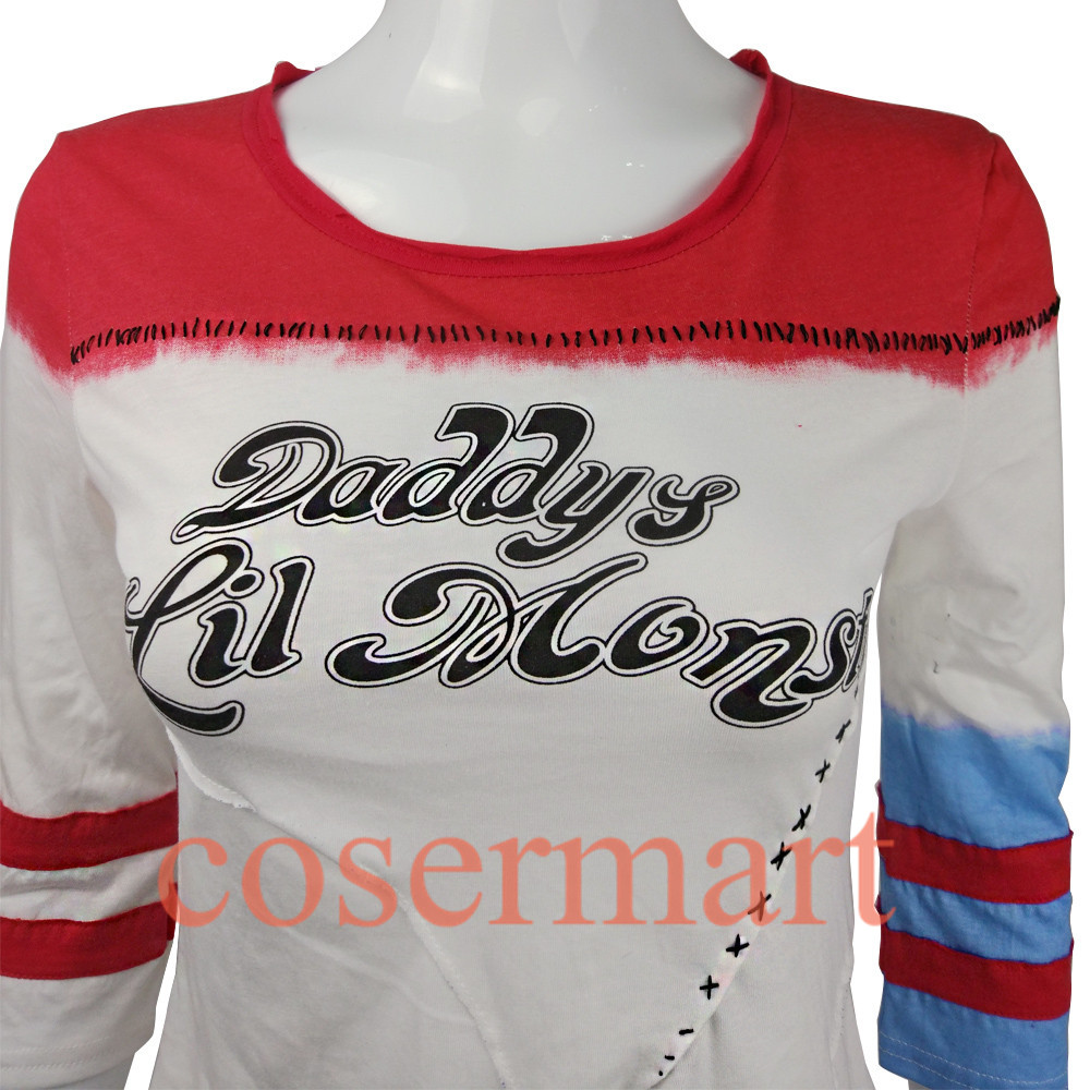 Suicide squad harley quinn costume t shirt daddy's lil monster t-shirt joker cosplay costumes without holes-2