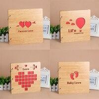 DIY Wooden Photo Album , Custom Wood Guestbook, Wedding Guest Book , Handmade Loose leaf Pasted Photo Album 27*27CM
