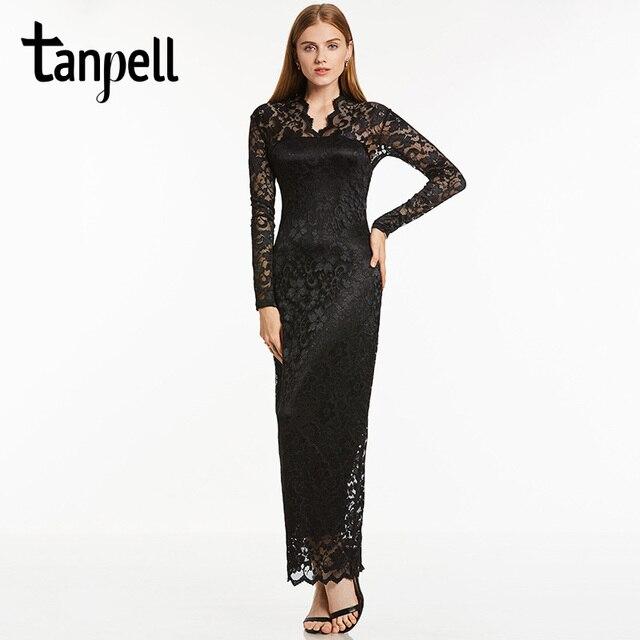 Tanpell mangas largas vestidos de noche V cuello de encaje negro vestido de  longitud de tobillo 4e025ab68928