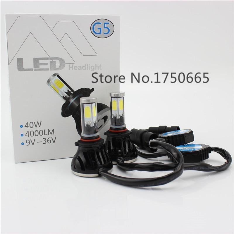 Led Car Head Light Fog Lamp 9005 HB3 Cob Leds DRL Headlight H10 Strobe Headlamp 12V 40W 4000Lm Replace Bulb Kit Play and Plug