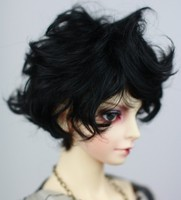 Imitation mohair Black curls Little short hair Very beautiful available for 1/4 1/3 BJD SD doll accessories