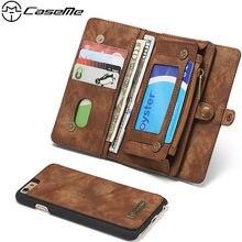 Caseme банкноты молния съемный 2 в 1 Роскошный кожаный бумажник чехол для iPhone 6 6S плюс телефон кошелек Чехол коричневый, черный коричневый
