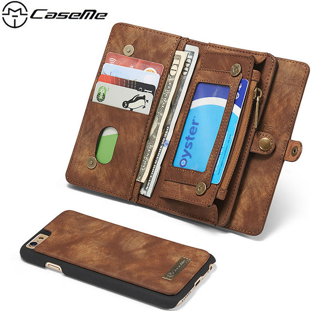 buy popular 2bb54 d057b US $26.0 |CaseMe Banknotes Zipper Detachable 2 in 1 Luxury Leather Wallet  Case for iPhone 6 6s Plus Phone Purse Pouch Brown Black Brown-in Wallet ...