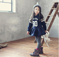 Fall 2015 Korean Design Girl Dress Preppy School 2-7Y print letters and striped Baby Long Sleeve sports dress School Clothes