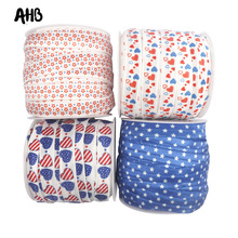 AHB 5/8 15mm Love Heart Star Printed Fold Over Elastic FOE Spandex Band American Style For Headbands Dress Sewing