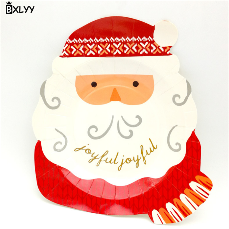 BXLYY Hot Christmas Tray Santa Claus Head Disposable Tray Party Supplies Cake Dessert Plate Christmas Decoration Accessories .7z