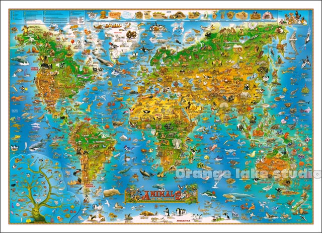Large HD Animal World Map Classrooms Office Home Decoration