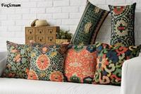 Free Shipping Linen Throw Pillow Hot Sale New Fashion Wedding Decor 45cm Boho Flowers Waist Pillow