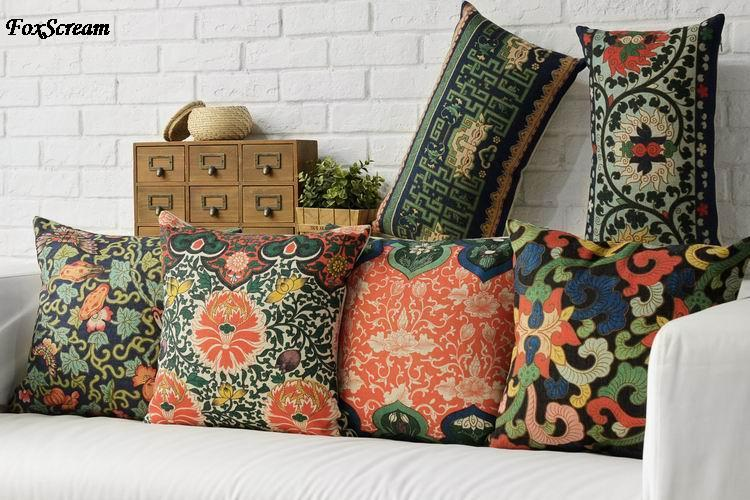 Free Shipping Linen Throw Pillow Hot Sale New Fashion Wedding Decor 45cm Boho Flowers Waist Pillow Home Office Sofa Car Cushion